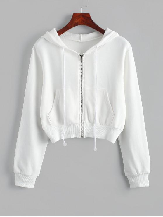 chic Zip Up Pockets Crop Drawstring Hoodie - WHITE S