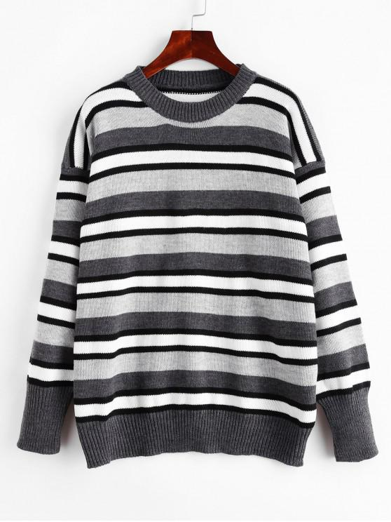 Picătură Umăr Striped Pulover Pulover - gri O marime