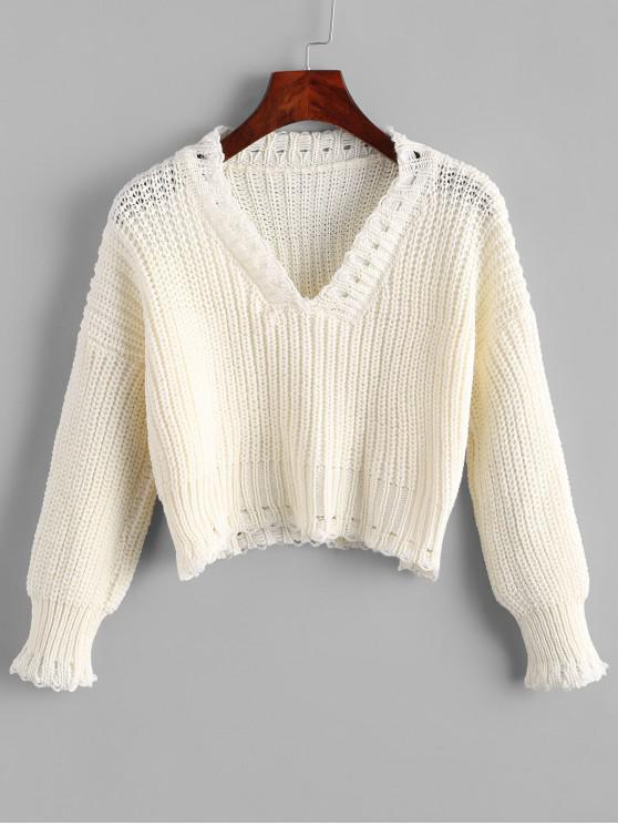 fashion V Neck Ribbed Crop Chunky Knit Sweater - WHITE ONE SIZE