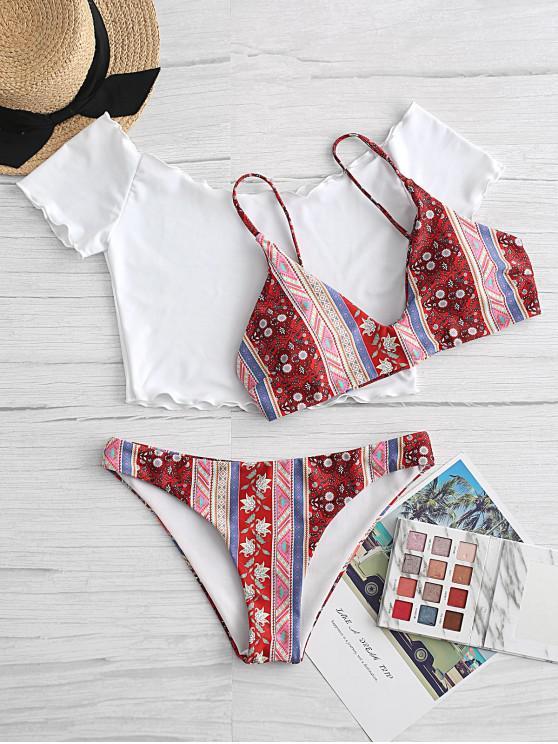 ladies ZAFUL Lettuce Trim Bohemian Printed Three Piece Swimsuit - VALENTINE RED S