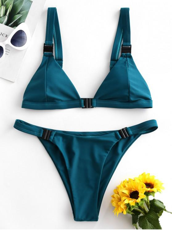 latest ZAFUL Neon Plunge Front Closure Bikini Swimsuit - GREENISH BLUE M