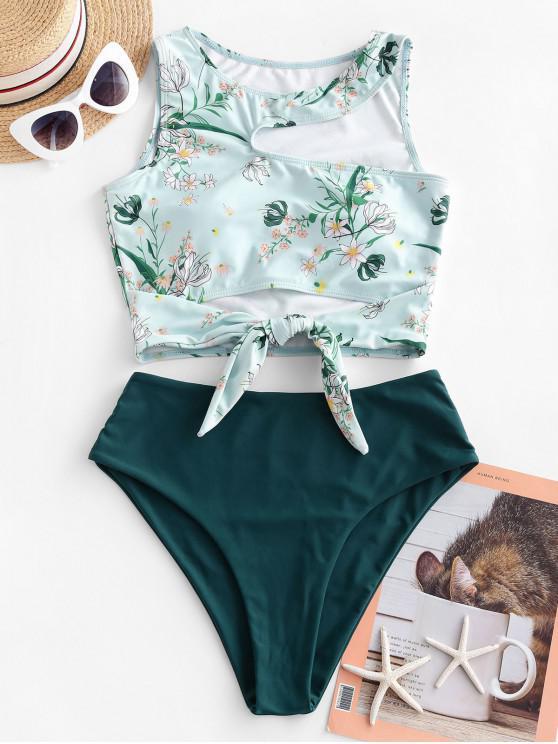 affordable ZAFUL Plant Print Cutout Knot Tankini Swimsuit - PEACOCK BLUE XL