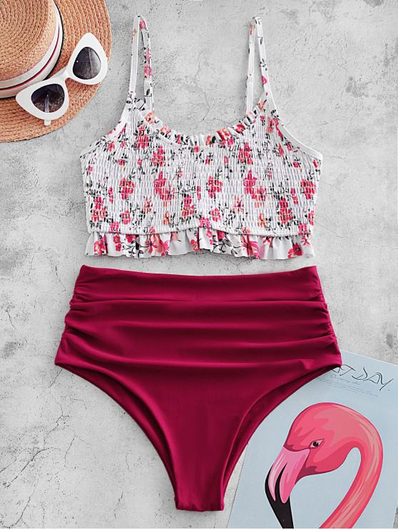 outfit ZAFUL Frilled Smocked Ruched Ditsy Print Tankini Swimsuit - RED WINE S
