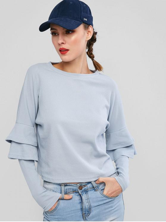 fancy Pullover Ribbed Layered Sleeve Sweatshirt - DAY SKY BLUE L