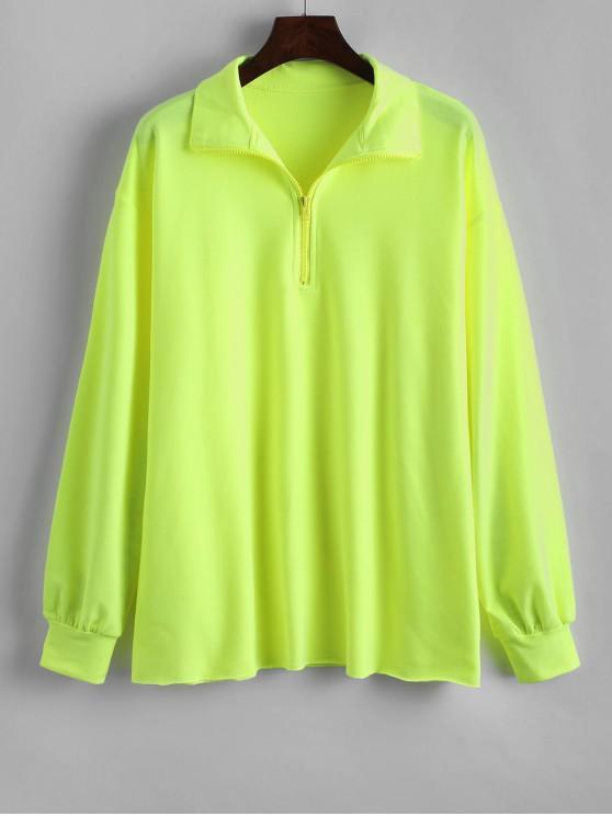 fancy Neon Quarter Zip Drop Shoulder Longline Sweatshirt - TEA GREEN S