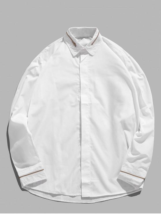 shops Zipper Turn Down Collar Solid Color Long Sleeve Basic Shirt - WHITE 2XL