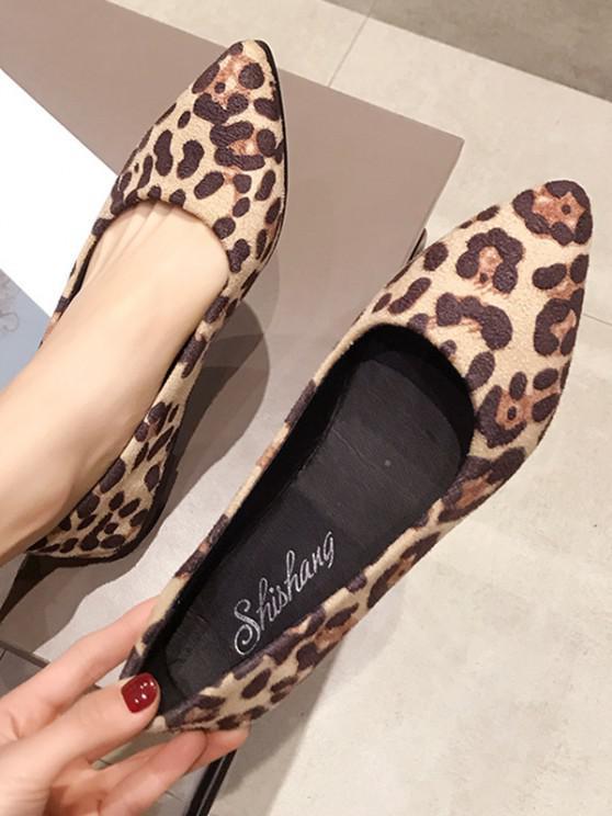 trendy Leopard Print Pointed Toe Ballet Flats - BEIGE EU 38