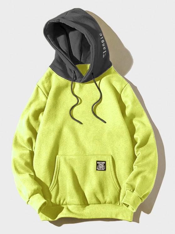 lady Color-blocking Letter Patch Detail Pouch Pocket Fleece Hoodie - GREEN YELLOW XS