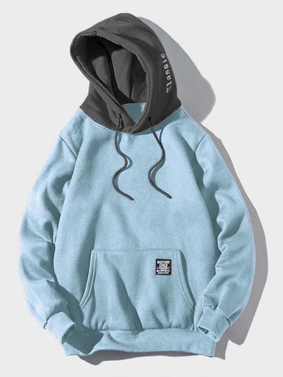 fashion Color-blocking Letter Patch Detail Pouch Pocket Fleece Hoodie - LIGHT SKY BLUE XL