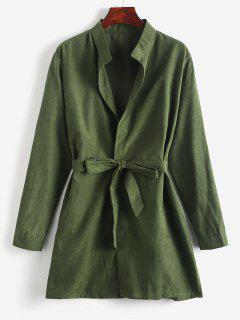 Manteau Long Ceinturé à Fente Latérale - Vert Camouflage Xl