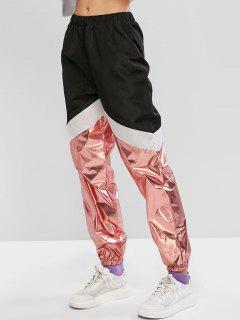 ZAFUL Metallic Color-blocking Drawstring Windbreaker Jogger Pants - Black S