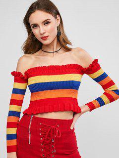 Ruffled Rainbow Stripes Off Shoulder Sweater - Multi S