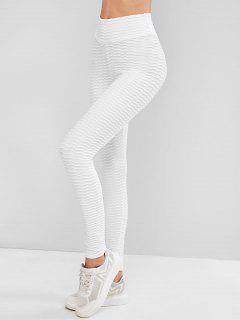 Scrunch Butt Textured Solid Sports Leggings - White S