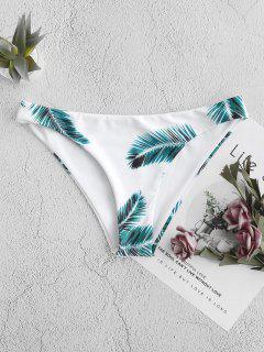 ZAFUL Tropical Leaf Print Bikini Bottom - White S