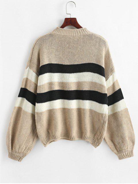 Suéter de rayas con manga de linterna - Camel Marrón Talla única Mobile