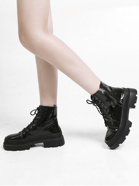 chic Plain Patent Leather Platform Ankle Boots - BLACK EU 39 Mobile