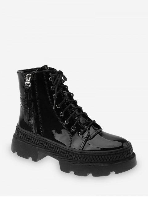 best Plain Patent Leather Platform Ankle Boots - BLACK EU 37 Mobile