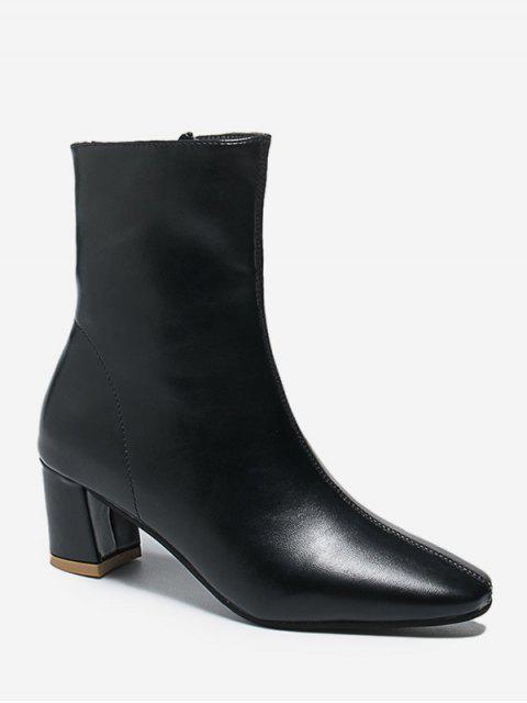 outfits PU Square Toe Chunky Heel Solid Boots - BLACK EU 39 Mobile