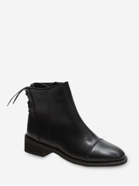 fashion PU Zipper Lace Up Back Solid Boots - BLACK EU 38 Mobile
