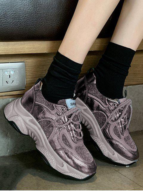 chic Glitter Lace Up Platform Sneakers - GUNMETAL EU 37 Mobile