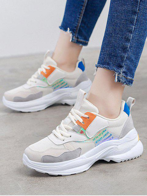new Laser Letter Panel Breathable Dad Sneakers - PAPAYA ORANGE EU 37 Mobile