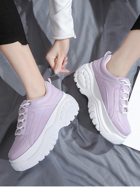 unique Casual Lace Up Platform Dad Sneakers - LILAC EU 41 Mobile