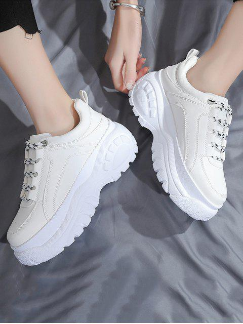 women's Casual Lace Up Platform Dad Sneakers - WHITE EU 40 Mobile