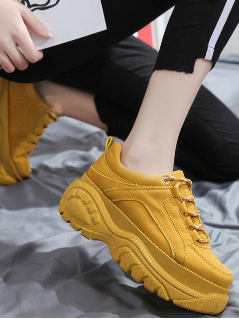ladies Casual Lace Up Platform Dad Sneakers - BEE YELLOW EU 41 Mobile