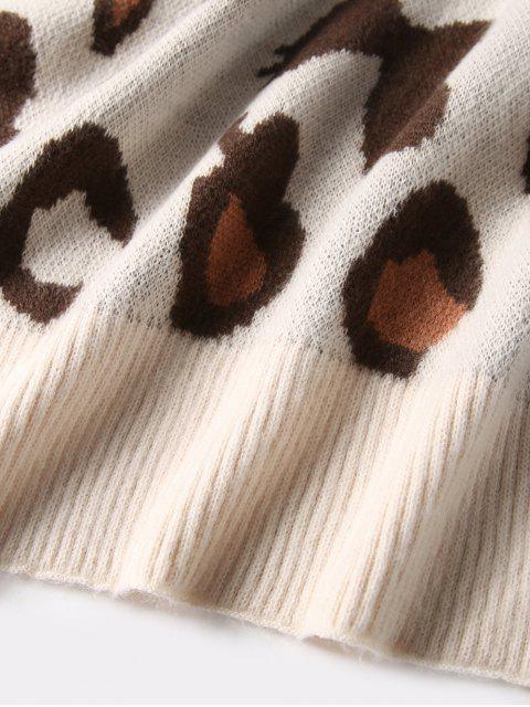 women Leopard Pattern Winter Long Shawl Scarf - BEIGE  Mobile