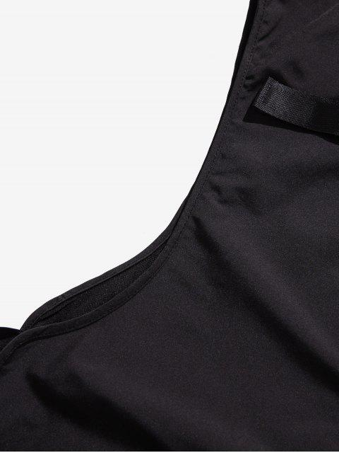 women's Solid Color Zipper Pocket Cargo Strap Vest - BLACK L Mobile