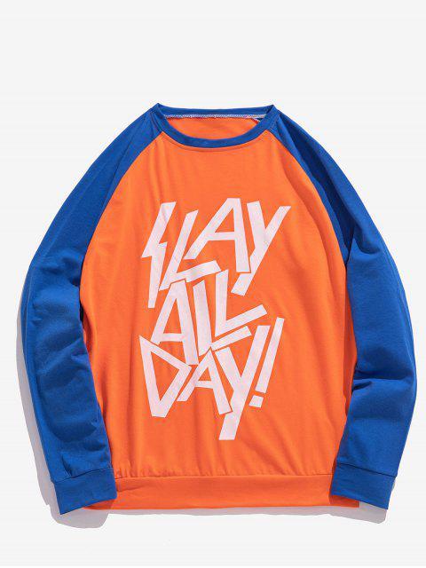 Camiseta con estampado de letras y manga raglán con panel en color block - Mandarina XL Mobile