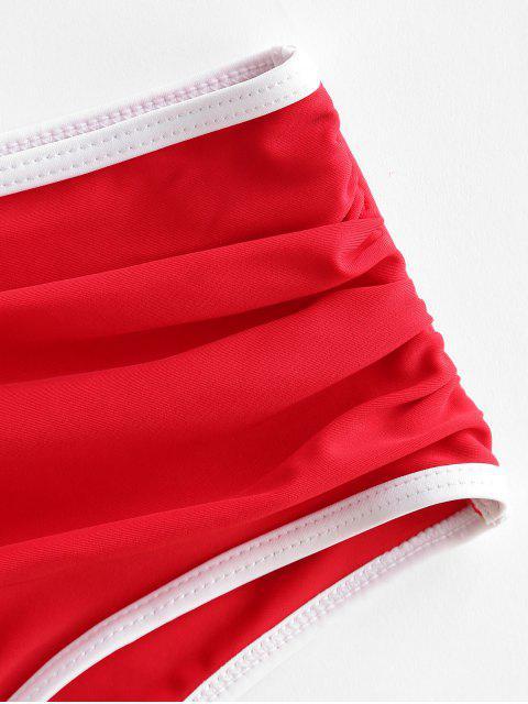 ZAFUL Bas de Maillot de Bain Contrasté avec Passepoil - Rouge Lave S Mobile