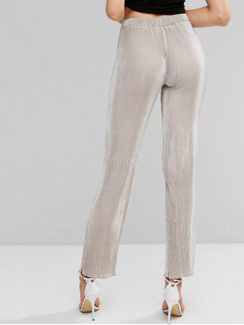 Pantalones de color liso plisado metálico de cintura alta - Gris Claro S Mobile