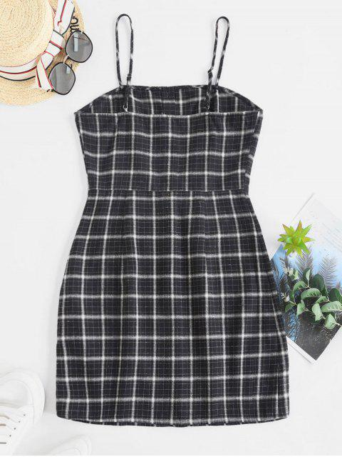 shops ZAFUL Button Up Plaid Sheath Cami Dress - MULTI M Mobile