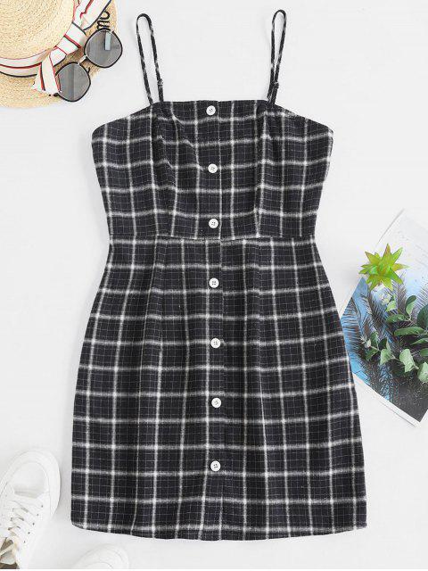 latest ZAFUL Button Up Plaid Sheath Cami Dress - MULTI S Mobile