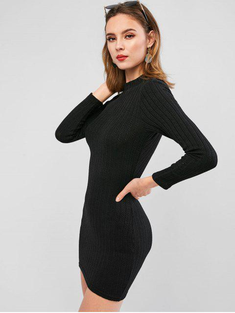 new Long Sleeve Cut Out Back Mini Bodycon Dress - BLACK S Mobile