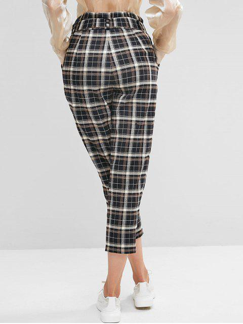 ZAFUL A cuadros con cinturón pantalones paperbag - Multicolor XL Mobile