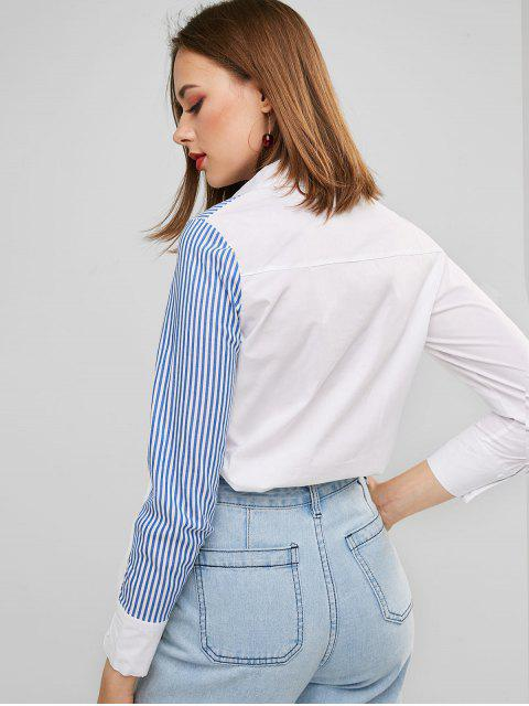 lady Contrast Striped Panel Buttoned Work Shirt - WHITE XL Mobile