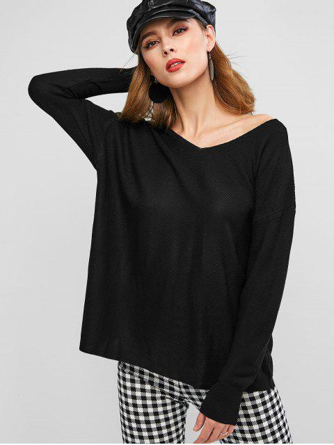 chic Solid Loose Drop Shoulder V Neck Sweater - BLACK XL Mobile