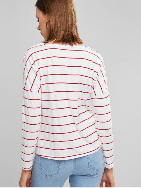 ladies Drop Shoulder Striped Long Sleeve Tee - RED S Mobile