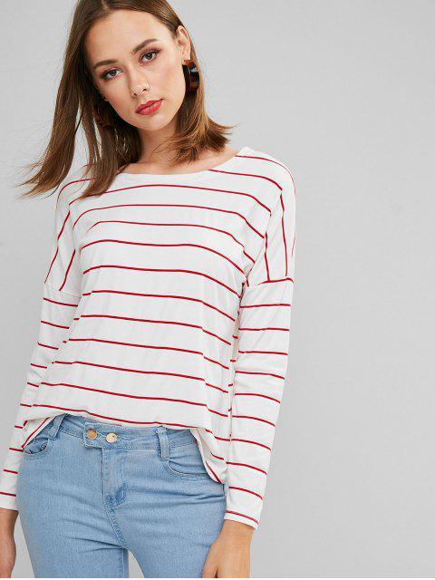 women Drop Shoulder Striped Long Sleeve Tee - RED XL Mobile