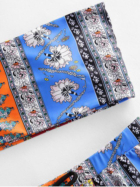 ZAFUL Maillot de Bain Bandeau Imprimé Trois Pièces Style Bohémien - Bleu Dodger L Mobile