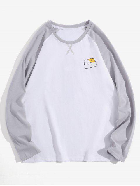 Animal creativo gráfico casual manga larga camiseta - Blanco M Mobile