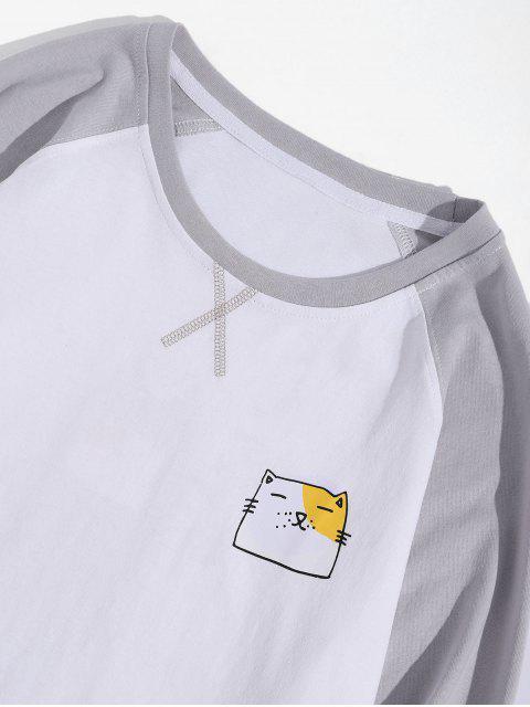 Animal creativo gráfico casual manga larga camiseta - Blanco XL Mobile