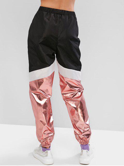 shops ZAFUL Metallic Color-blocking Drawstring Windbreaker Jogger Pants - BLACK S Mobile