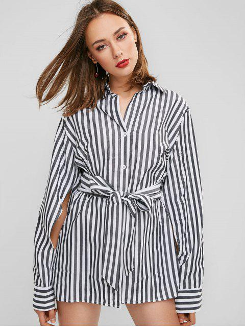 unique Striped Belted High Low Longline Shirt - MULTI S Mobile
