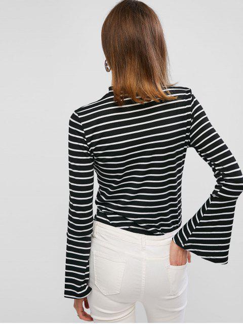 fashion ZAFUL Striped Crew Neck Flare Sleeve Tee - BLACK XL Mobile