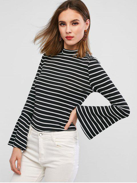 new ZAFUL Striped Crew Neck Flare Sleeve Tee - BLACK S Mobile