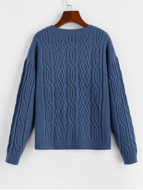 ZAFUL Einfacher Strukturierter Pullover mit Hängender Schulter - Schiefer Blau M Mobile
