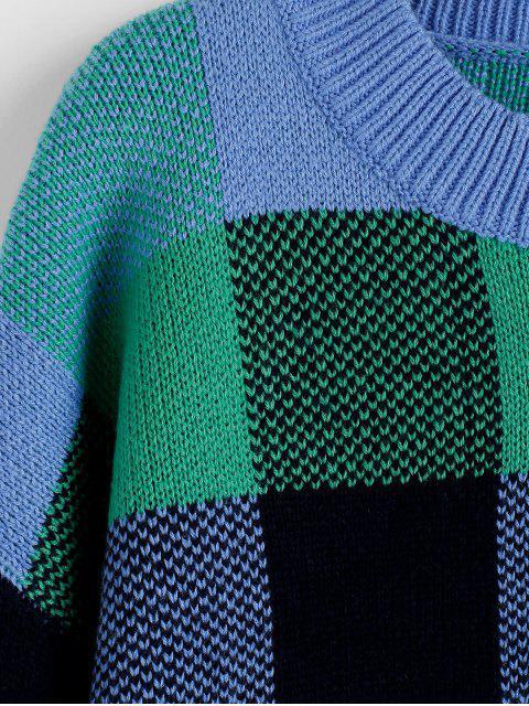 new ZAFUL Plaid Drop Shoulder Slit High Low Sweater - MULTI S Mobile